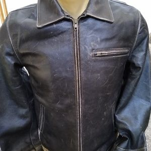 Route 66 Distressed Leather Jacket Men's Small